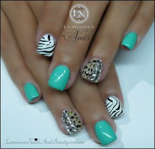 White, Nude, Green, Zebra & Leopard Print Nails with Crystals...