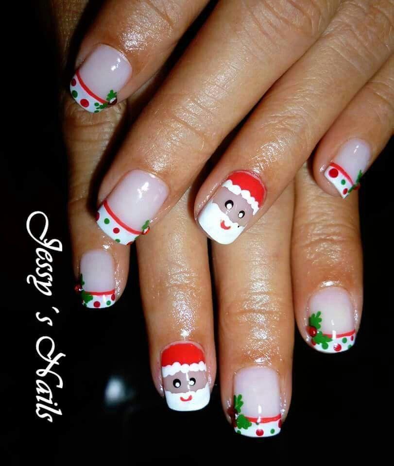 Uñas Navideñas, Navidad, Colacho, Santa Claus, Rojo, Verde
