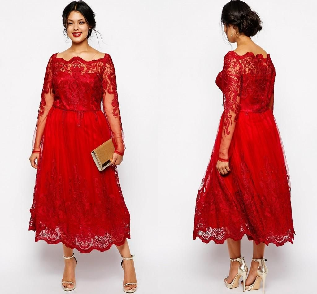 Red full lace plus size formal dresses sheer bateau long sleeve