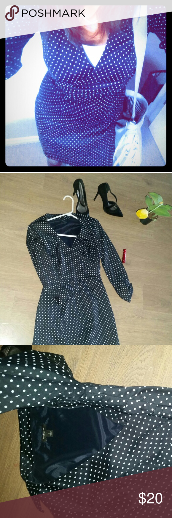 Polka dot Business dress Rolled sleeves . Side zipper. Sexy bottom slit on back by legs. Collar and pulled pleated fabric to the side of chest Ann Taylor Dresses Long Sleeve