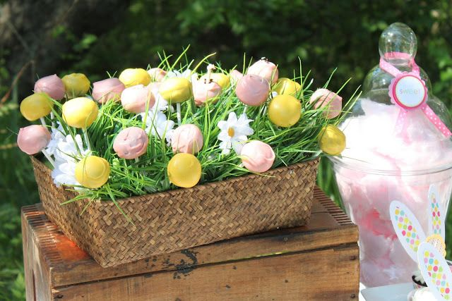 cake pops in a basket of grass--so pretty!