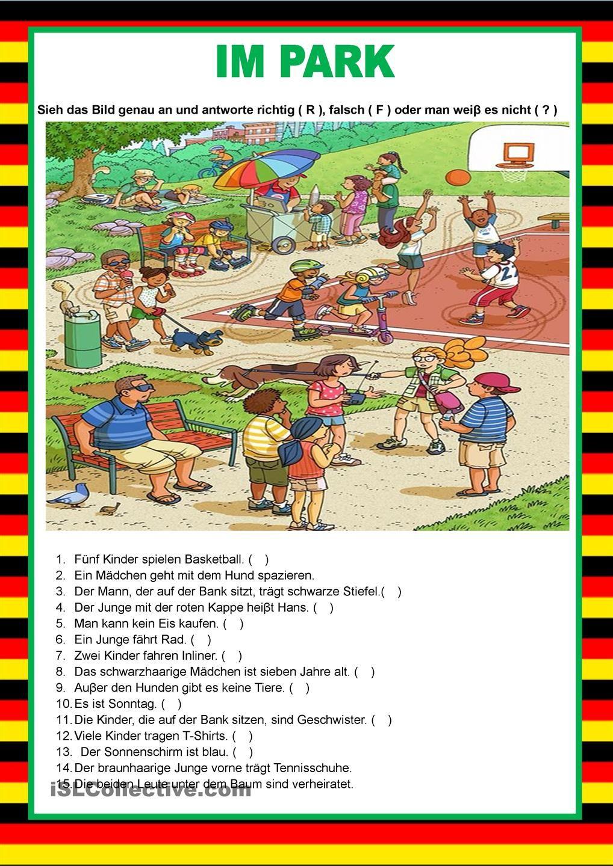 Willkommen auf Deutsch - Im Park - Bildbeschreibung | Printable ...