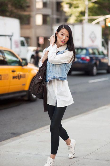 e82d4a71f denim vest over a sheer shirt | STYLE | Pinterest | How to wear ...