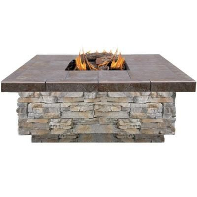 Cal Flame 48 in. Natural Stone Propane Gas Fire Pit in Gray with Log Set and Lava Rocks-FPT-S301-NS - The Home Depot