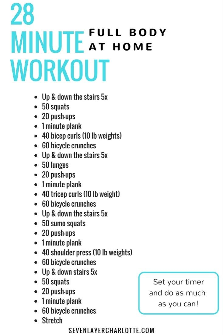 28 minute at home workout; full body workout without the gym ...