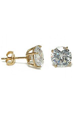 14k Gold Round Cut Diamond Cz Stud Earrings By King Ice