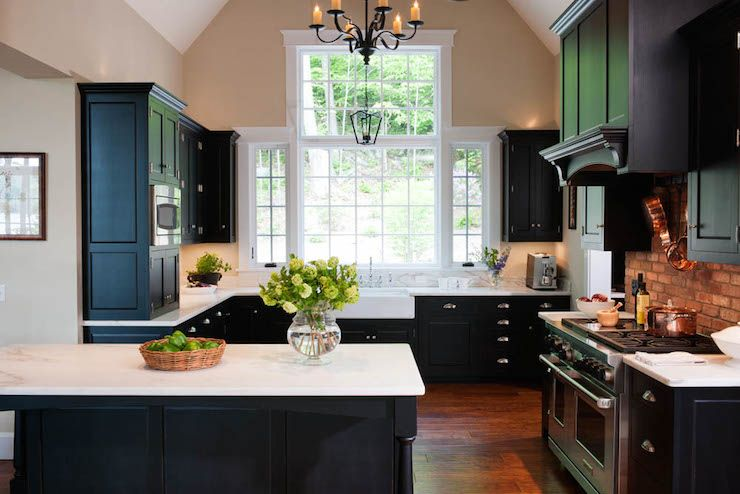 Gorgeous white and black kitchen with black cabinets accented with on kitchen ideas with tile floors, kitchen ideas with black appliances, kitchen ideas with window, kitchen ideas with breakfast bar, kitchen ideas with brick backsplash, kitchen ideas with an island, kitchen ideas with tile backsplash,