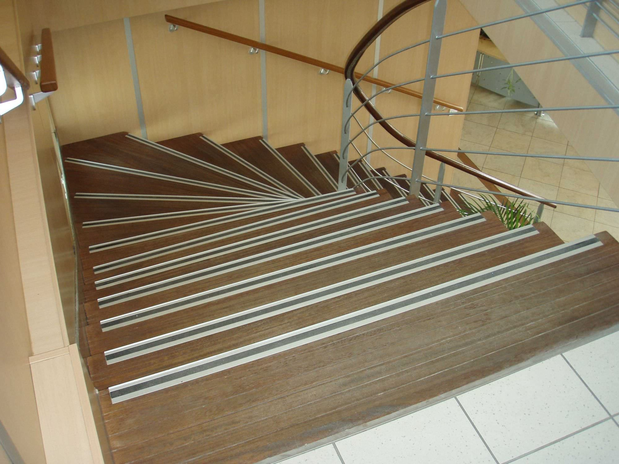 Flooring: Wooden Stepping Stair With Lined Non Slip Stair Treads Matched  With Metal Railing Ideas
