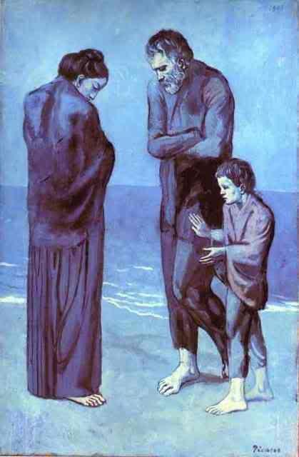 Picasso Mujer Mendigo Y Niño A La Orilla Del Mar Periodo Azul De Picasso Arte De Picasso Cuadros De Pablo Picasso