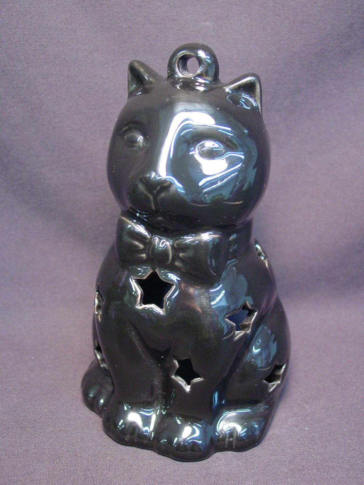 Black Cat Votive Figurine Ceramic Halloween Decoration
