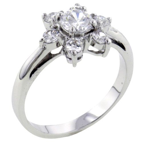 Sterling Silver Jewelry - fashion round cut clear cz flower 925  sterling silver ring jewelry Image.