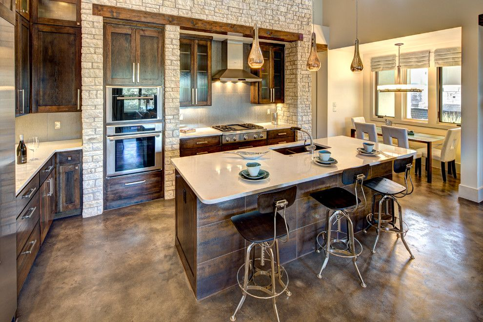 stained concrete floors Kitchen Traditional with cabinets barstools ...