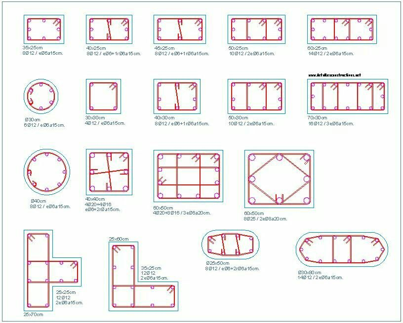 RCC column cross sections commonly used | COLUMNS AND DOMES/ARCHES ...