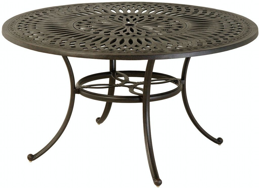 Outdoor Patio 54 Round Inlaid Lazy Susan Dining Table By Hanamint 208084 In 2020 Aluminum Patio Furniture Dining Table Round Counter Height Table