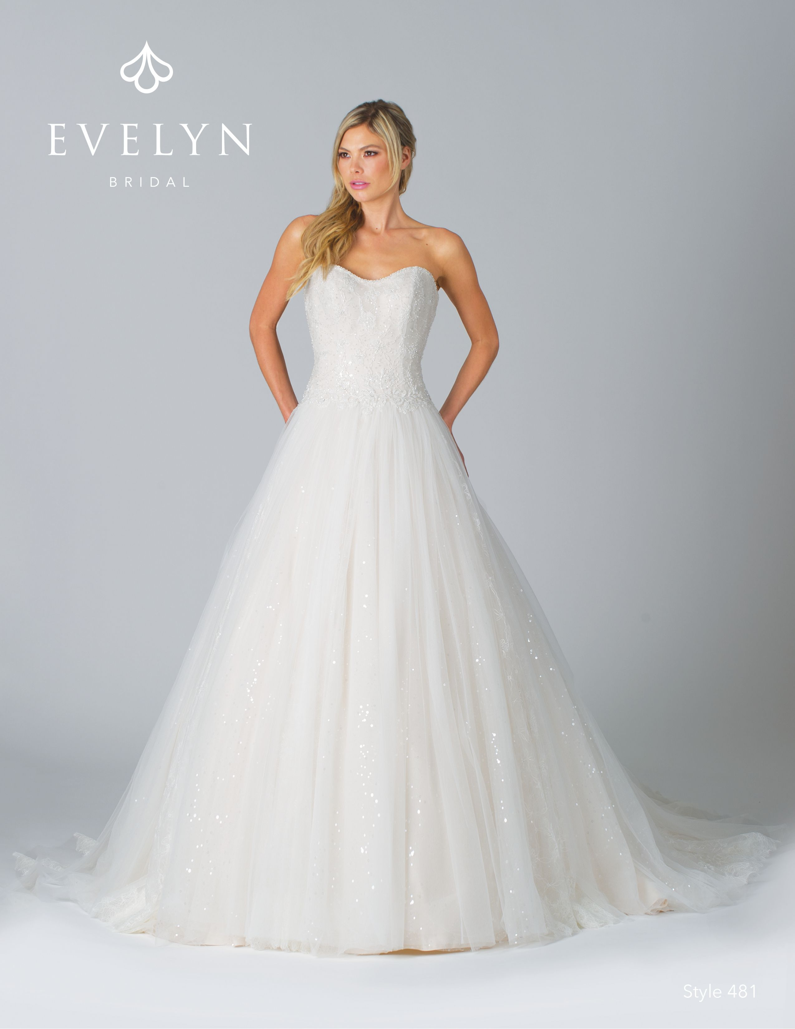 Style 481 Tinley - Elegant tulle ball gown with hand-beaded pearl appliqués  that… | Tulle ball gown, Evelyn bridal, Ball gowns