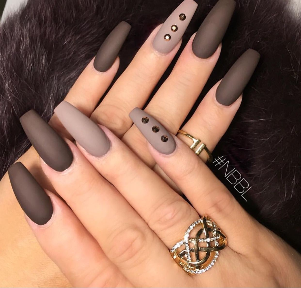 Matte Shades of Nude and Brown Coffin Nails with minimal Rhinestones ...