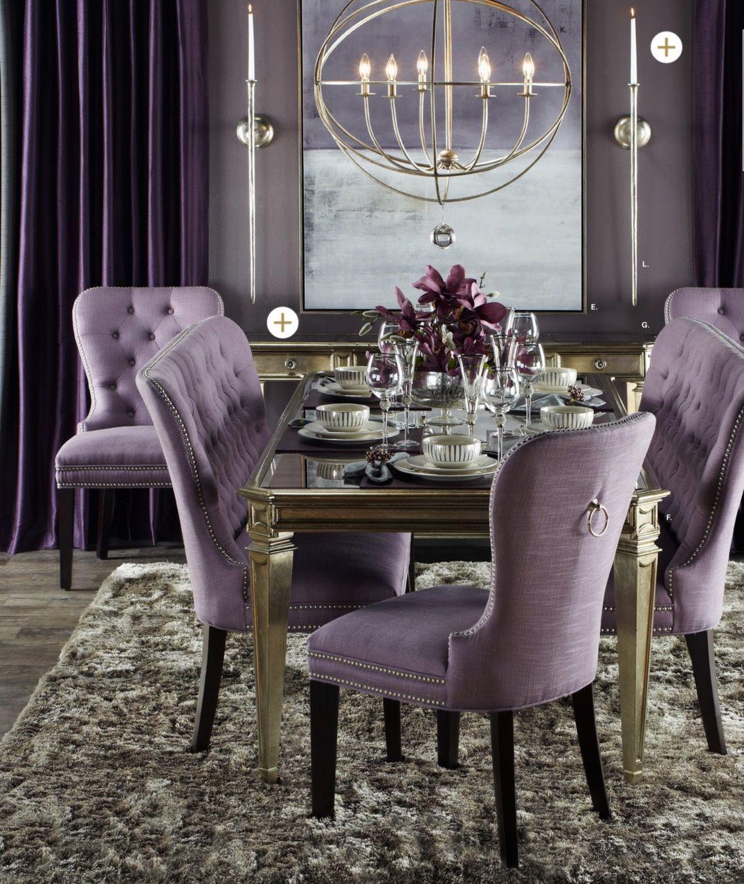 Dining Room Featuring Purple Dining Diningroom Diningroomideas Decor Purple Chandelier Lighting Interiordesign I Ev Için Oturma Odası Fikirleri Dekor