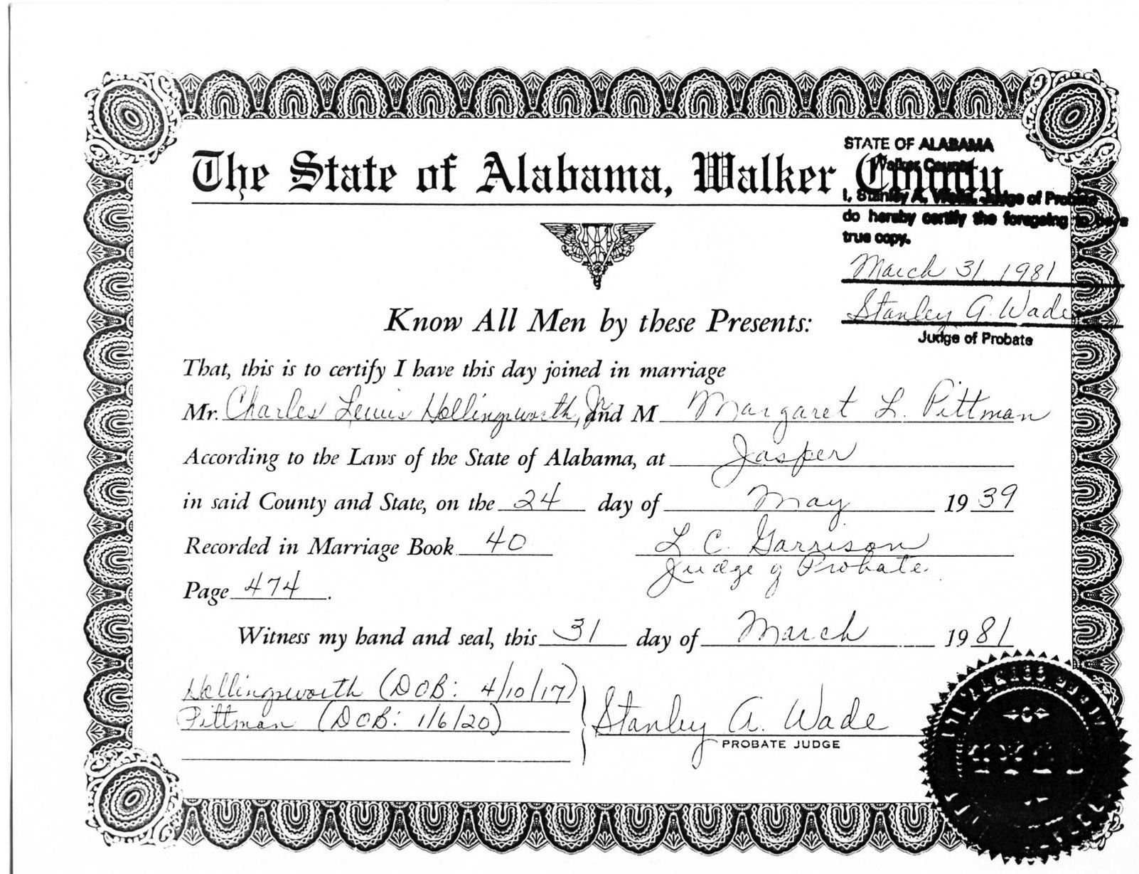 Marriage certificate license for charles lewis hollingsworth jr marriage certificate license for charles lewis hollingsworth jr charles louis hollingsworth xflitez Images
