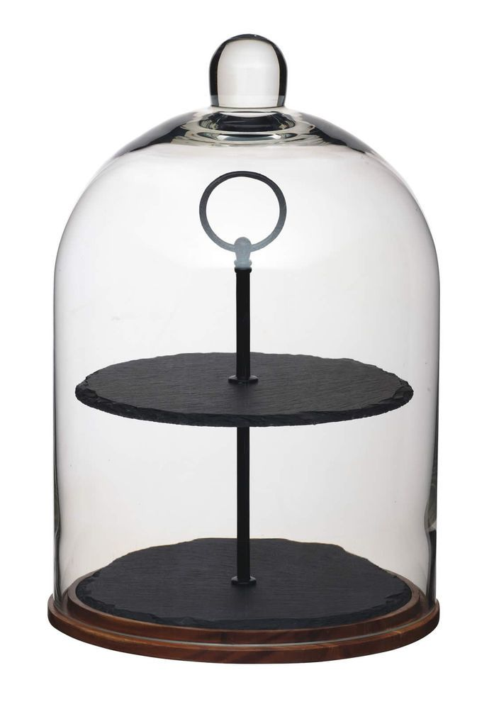 Details About Artesa 2 Tier Wood Slate Glass Dome Cake Centrepiece Serving Display Stand Cake Stand With Dome Glass Cake Dome Glass Dome Cake Stand