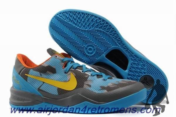 huge discount 05a68 4ef34 Authentic Nike Zoom Kobe VIII (8) Grey Blue Yellow Basketball Shoes For Sale