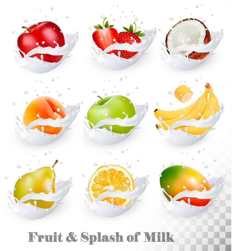 Big Collection Of Fruit In A Milk Splash Apple Mango Banana Peach Pear Orange Coconut Strawberry Vector Set 1 Fruit Splash Vector Food Milk Splash