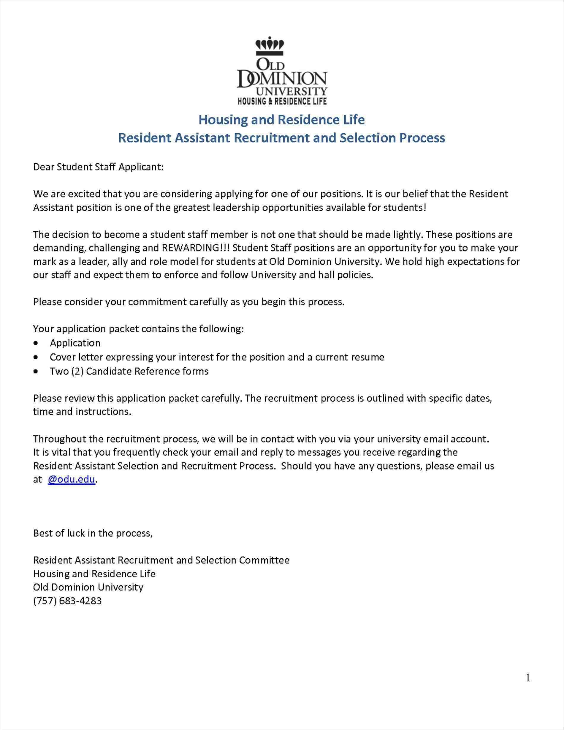Residence Life Cover Letter Dear Students Weekly Lesson Plan