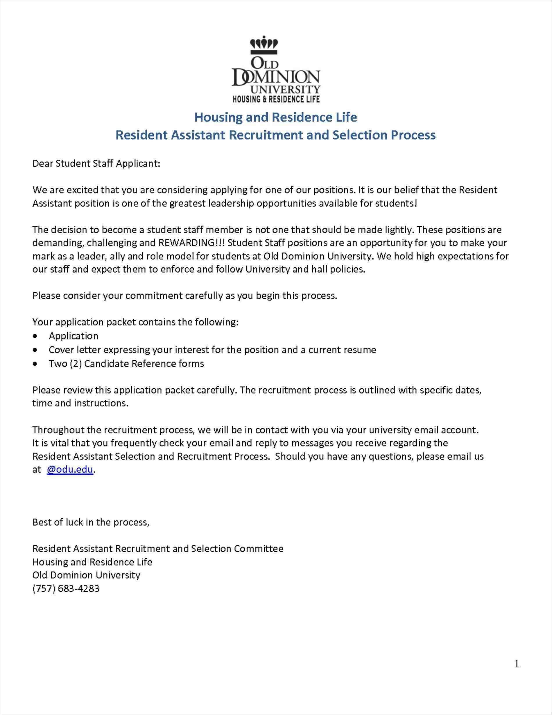Cover Residence Life Cover Letter Letter For Resident Advisor Position  Images Sample Promotion Guamreviewcom Sample Residence