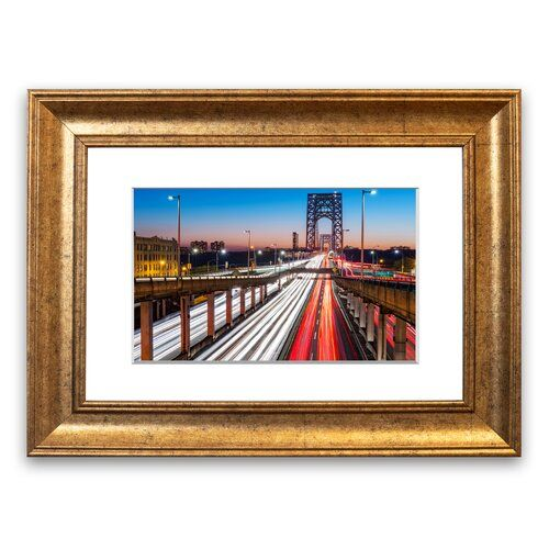 Photo of Framed Poster George Washington Bridge East Urban Home size: 93 cm H x 126 cm W, frame type: Walnut