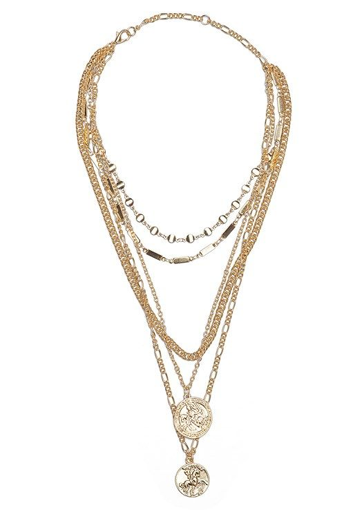 LAYERED COIN DETAIL  LAYERED COIN DETAIL Show off your neckline in this unforgettable layered coin detail choker Varying gauges and links of gold gradually descend from t...