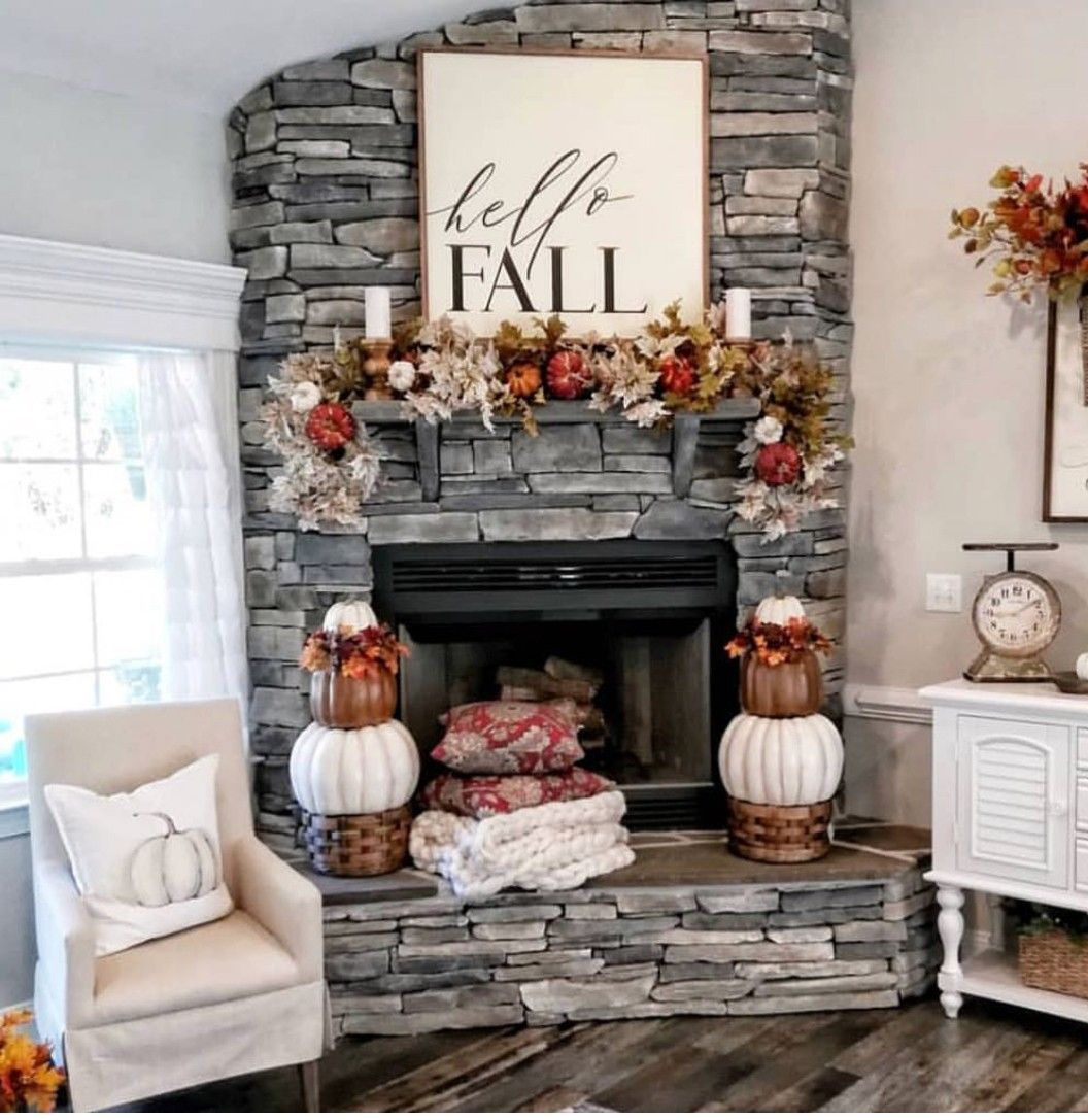 Cute fall decor around a fireplace My Dream House( in