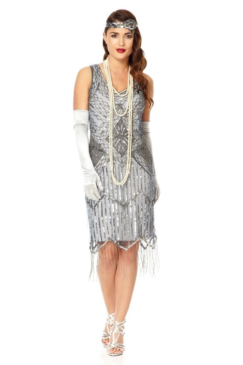 530e73d0c1b Art Deco Style Fringe Party Dress in Blue Grey - SOLD OUT