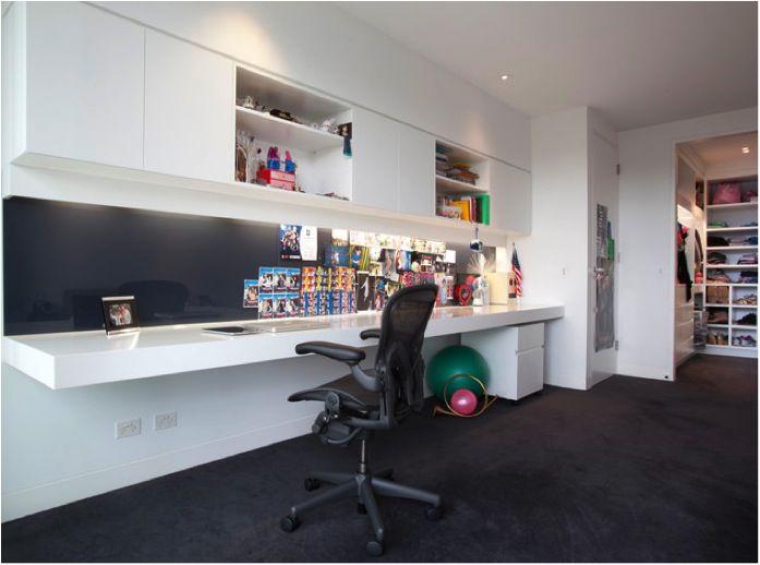 Floating Acrylic Desk Blue Splashback Charcoal Carpet Led