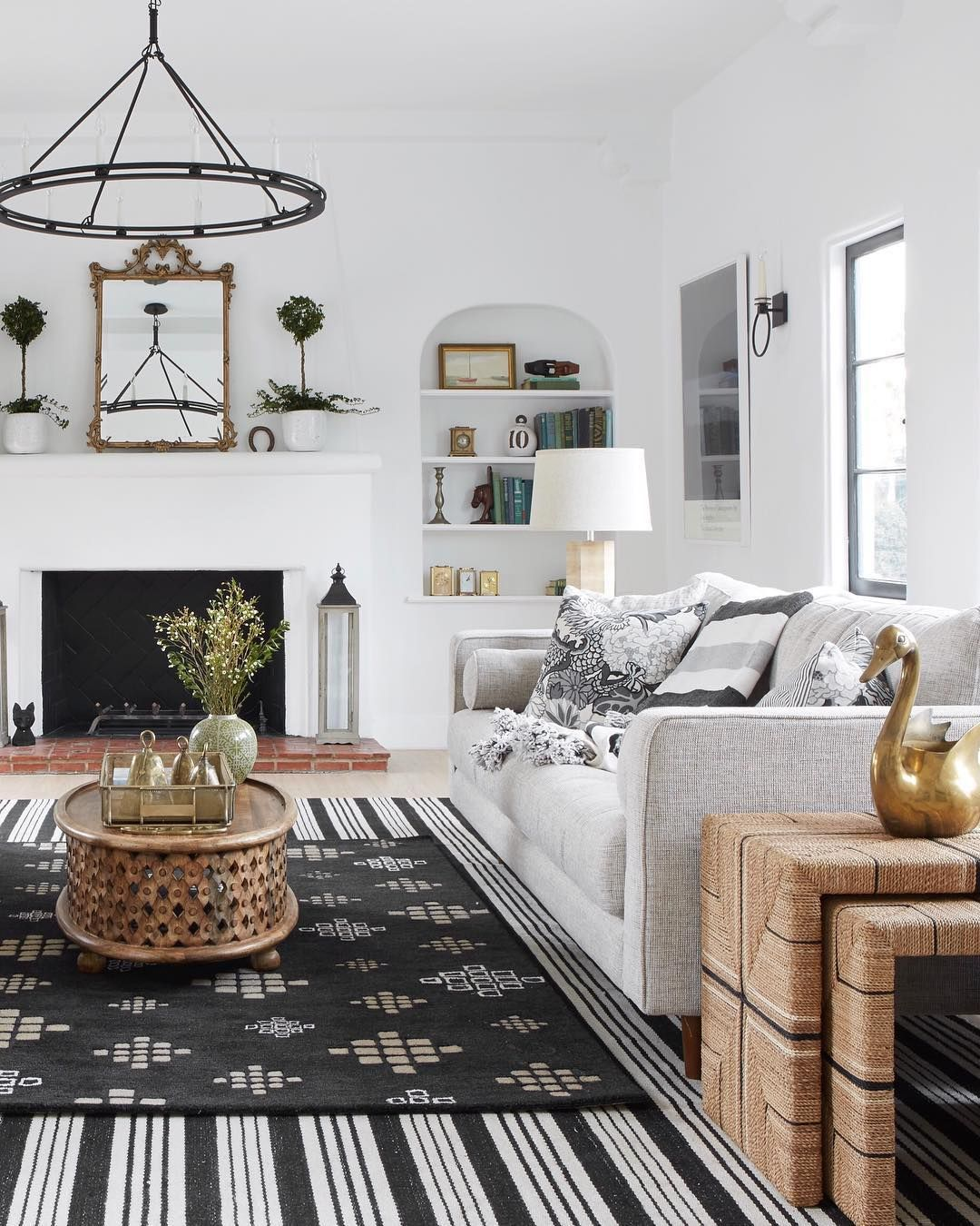 Cococozy Design House Living Room Black And White Design Striped