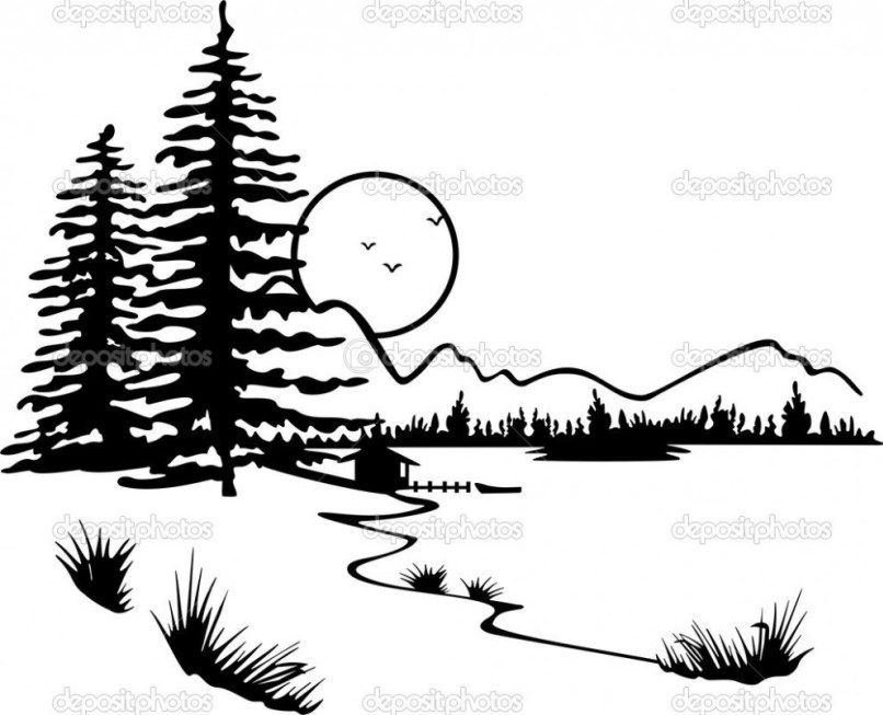Image Result For Nature Clipart Black White Silhouette Art Coloring Pages Nature Wood Burning Art