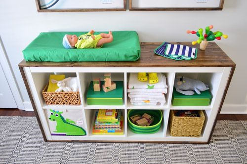An Easy Ikea Hack Bookcase To Wood Wrapped Changing Table Our Diy