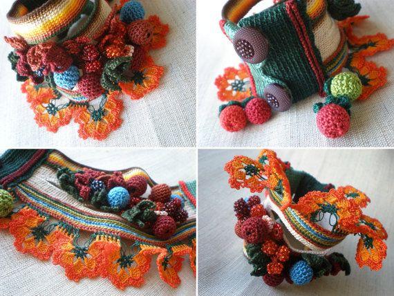 Ilex Verticillata Freeform Crochet Cuff di irregularexpressions, $168.00