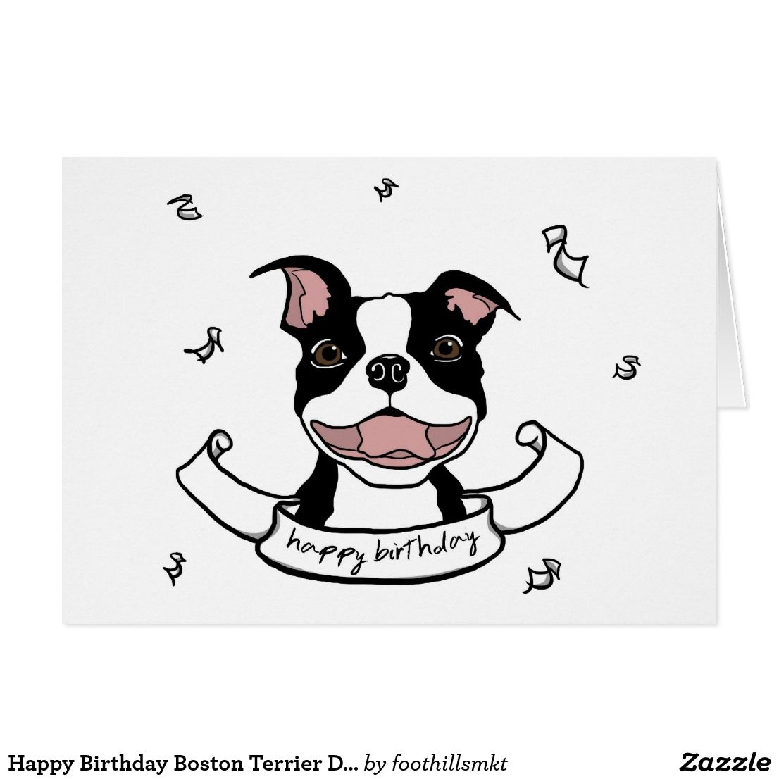 Happy Birthday Boston Terrier Dog Card Zazzle