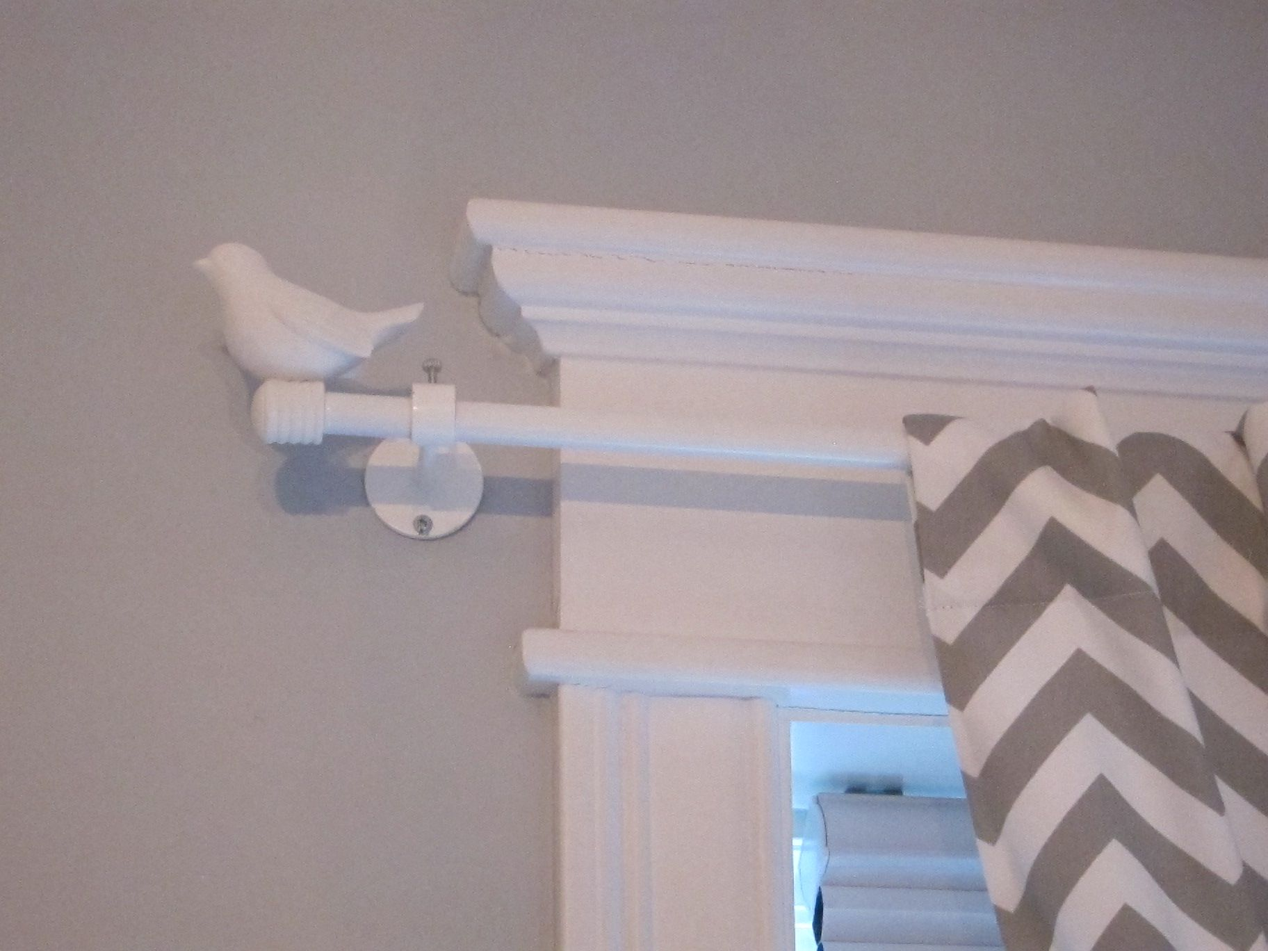 Bird finials and good curtain material Project House