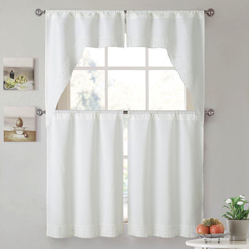 Vcny 4 Piece Noelle Tier Valance Kitchen Window Curtain Set
