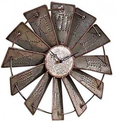 Rough country decor rustic industrial metal farm windmill wall clock dia also rh pinterest
