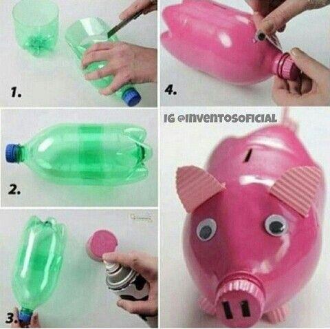 Hucha Cerdito Con Botella De Plastico Manualidades Con Botellas De Plastico Manualidades Con Botellas Manualidades