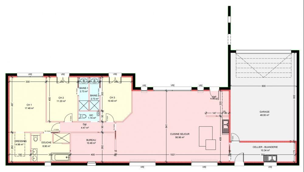 Maisons plain pied 4 chambres de 146 m² construite par Demeures - plan maison plain pied  chambres  bureau