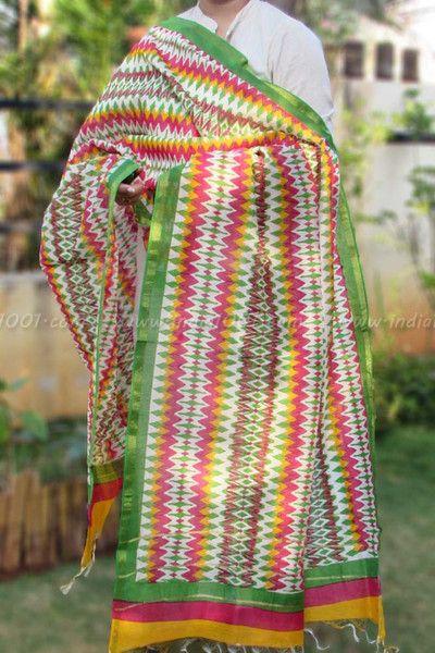 Beautiful Chanderi Dupatta with Hand Block Print