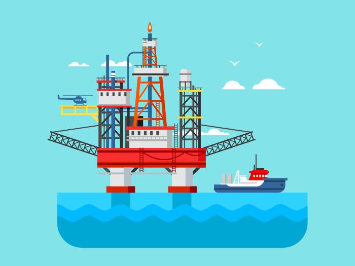 Drilling Rig At Sea Flat Illustration Kit8