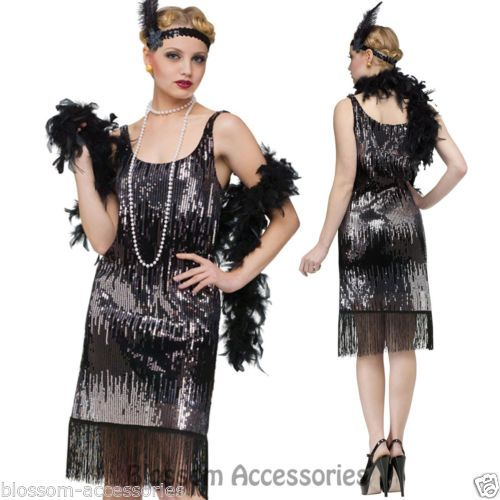 Fringe Flapper Costume 20s Gatsby Charleston Womens Ladies Fancy Dress Outfit