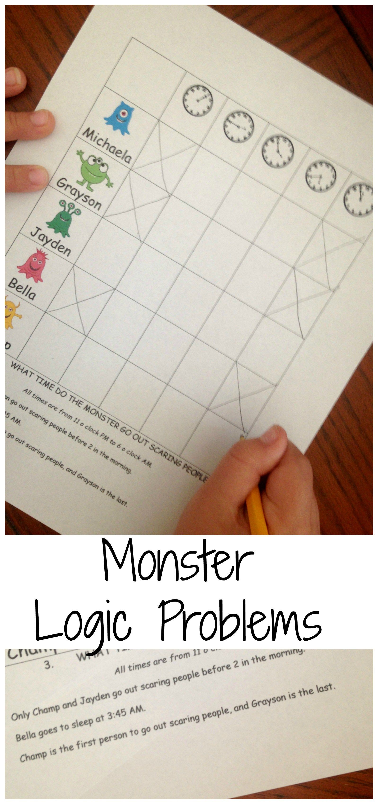 Here Are Free Monster Logic Problems To Get Your Students