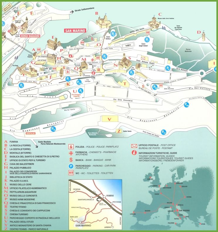 Sightseeings San Marino city map Maps Pinterest City maps and City