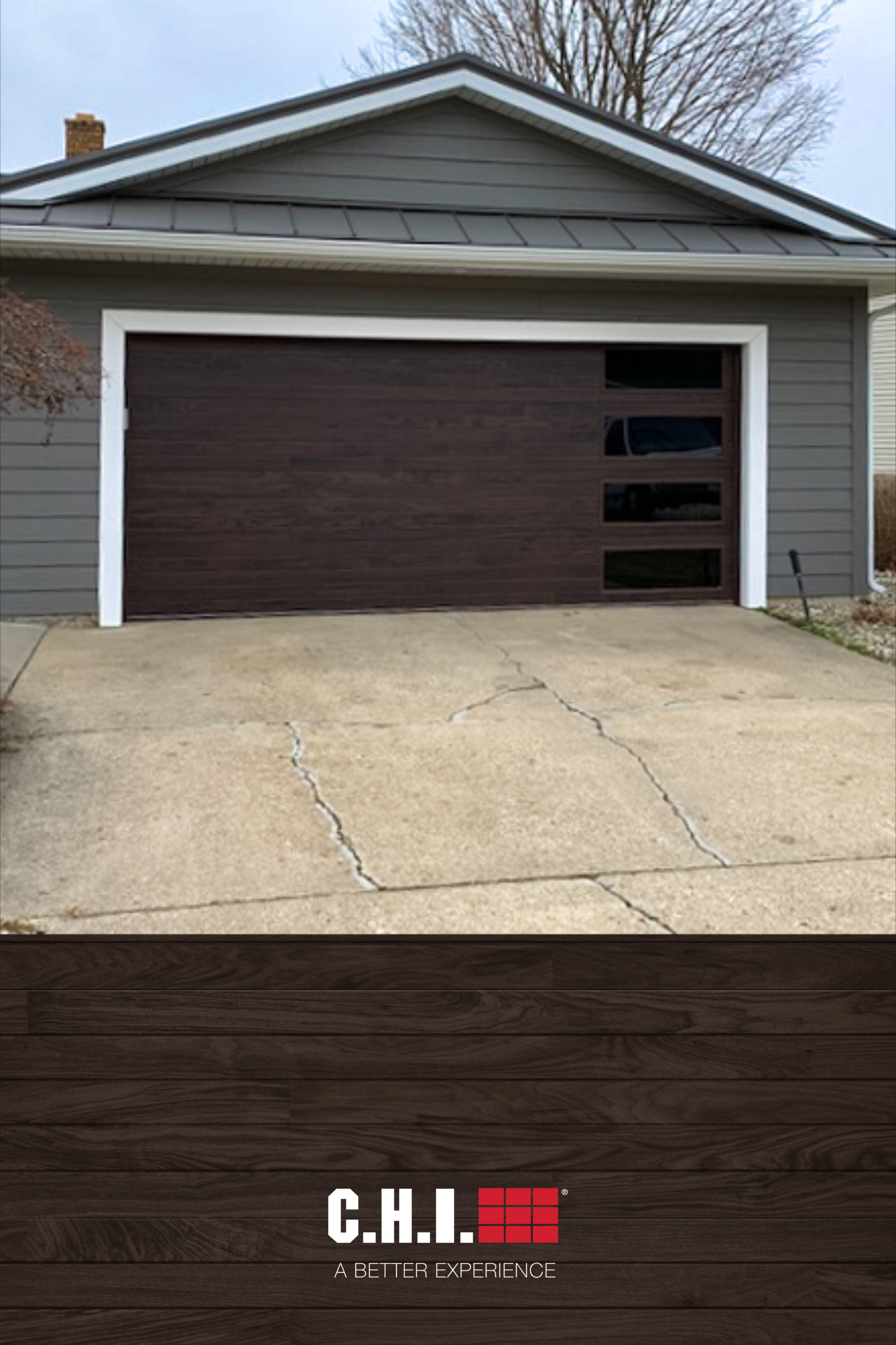 Contemporary Planks Garage Door In Walnut Accents Woodtones In 2020 Garage Doors Plank Door Doors
