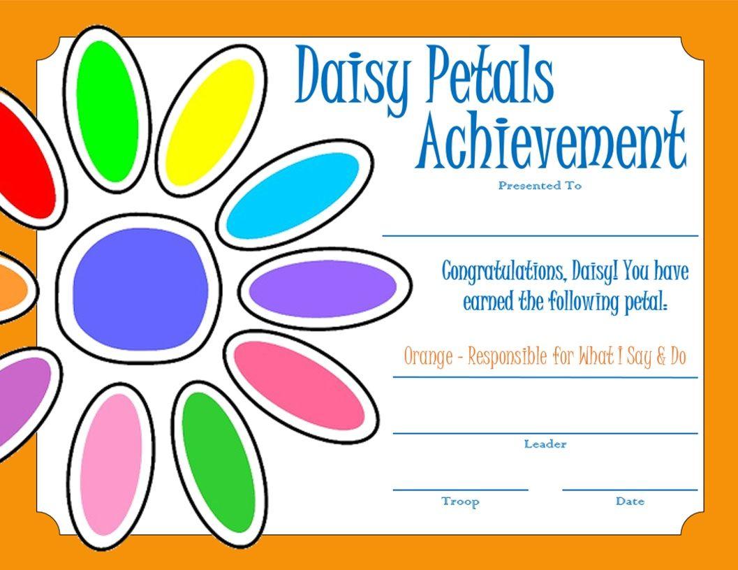 Daisy Petal Certificate - Orange
