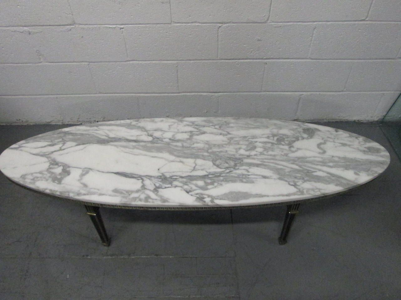 Hollywood Regency Oval MarbleTop Coffee Table From a unique